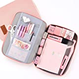 EASTHILL Big Capacity Pencil Pen Case Pouch Box Organizer Large Storage for Bullet Journal Pink (Color: Pink)