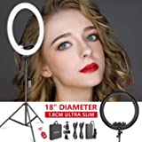 Neewer Ring Light Kit [Upgraded Version-1.8cm Ultra Slim]-18 inches,3200-5600K,Dimmable LED Ring Light with Light Stand, Phone Clip,Hot Shoe Adapter for Portrait Makeup Video Shooting (Black) (Color: Black)