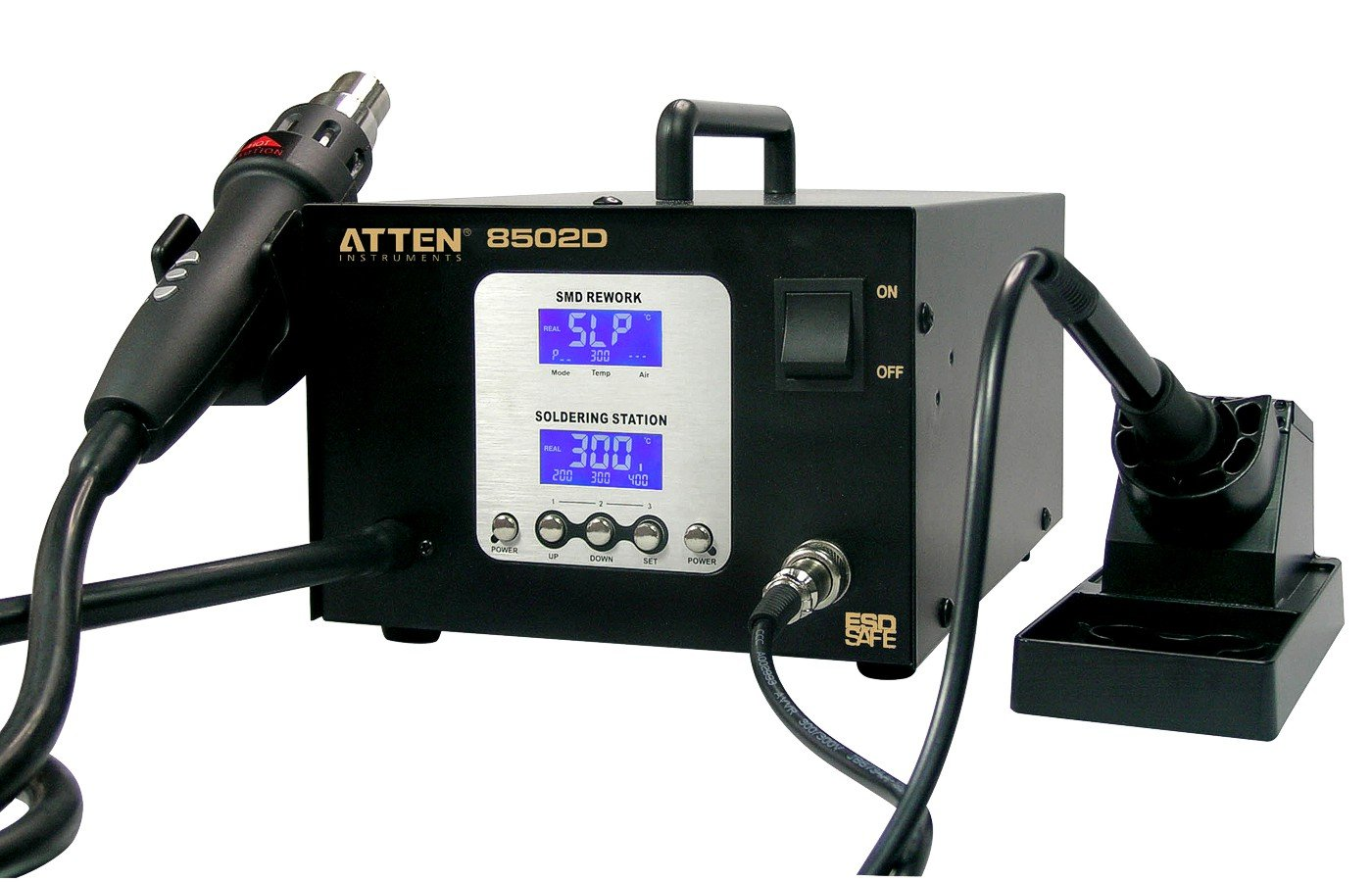 Digitale Profi SMD Rework Lötstation Lötkolben 50W Heißluft 800W AT8502D ESD  BaumarktKundenbewertung und Beschreibung