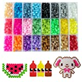 Fuse Beads Kit - Includes 24-cell 5mm Colored iron Beads(about 5500 beads), a Square and a Five-pointed Star Plate, 5 Lroning Paper,2 Tweezers and 5 O