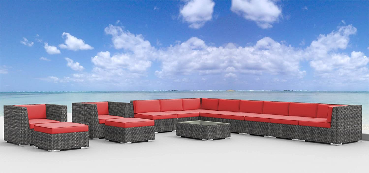 www.urbanfurnishing.net Urban Furnishing - NEWPORT 14pc Modern Outdoor Backyard Wicker Rattan Patio Furniture Sofa Sectional Couch Set - Coral Red at Sears.com