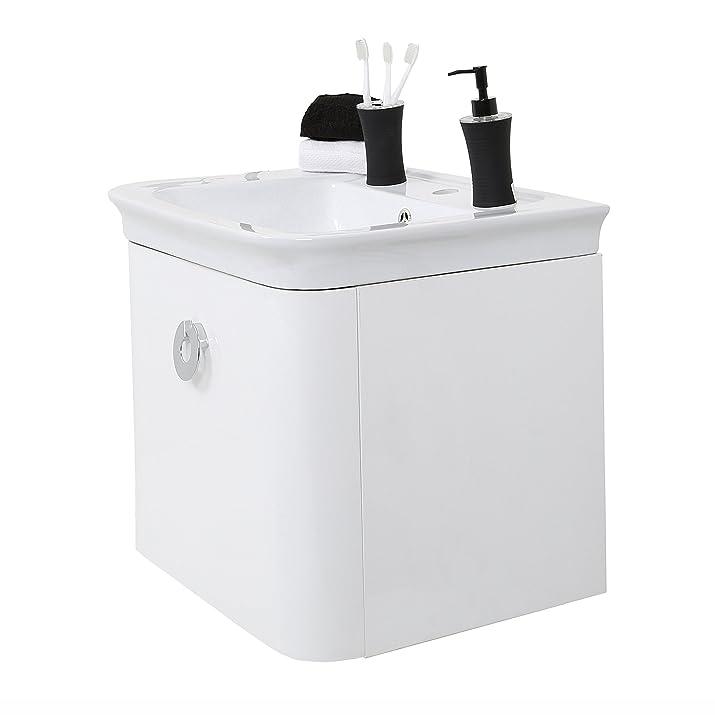 Premier Housewares Adelphi Lavabo con Armadietto, Montaggio a Muro, Ceramic, Bianco, 60x48x97 cm