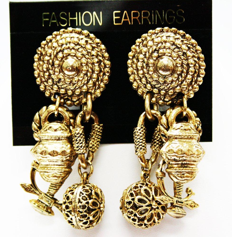 Brushed Gold Trinkets Dangle Earrings - Clip On Fashion Earrings
