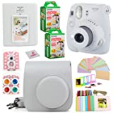 Fujifilm Instax Mini 9 Instant Fuji Camera (Smokey White+ Case + Instant Mini 9 Film 40 Pack + Accessories Bundle: Colorful Picture Frames + Decorative Stickers + Selfie Mirror + Photo Album & More. (Color: Smokey White)