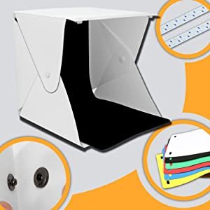 Donwell Portable Photo Studio Tent Light Box Folding Photography Shooting Kit with Adjustable LED Lights and 6 Colors Background New 2018 (Size: 9.8 x 9.5 x 9)