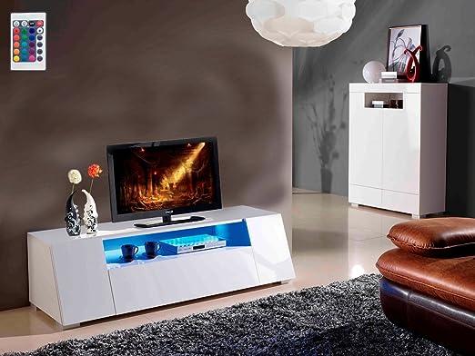 Mueble TV con LED CHLORA - 160 x 52 x 43,5 cm