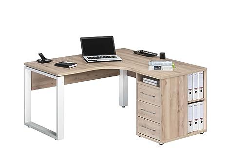 Bureau d'angle Bureau Bureau Table de meubles de bureau avec meuble 1458inoxydable Hêtre