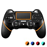 PS4 Controller?Upgraded Version? ORDA Wireless Gamepad for Playstation 4/Pro/Slim/PC(7/8/8.1/10) with Vibration and Audio Function, Mini LED Indicator, USB Cable and Anti-Slip - Orange