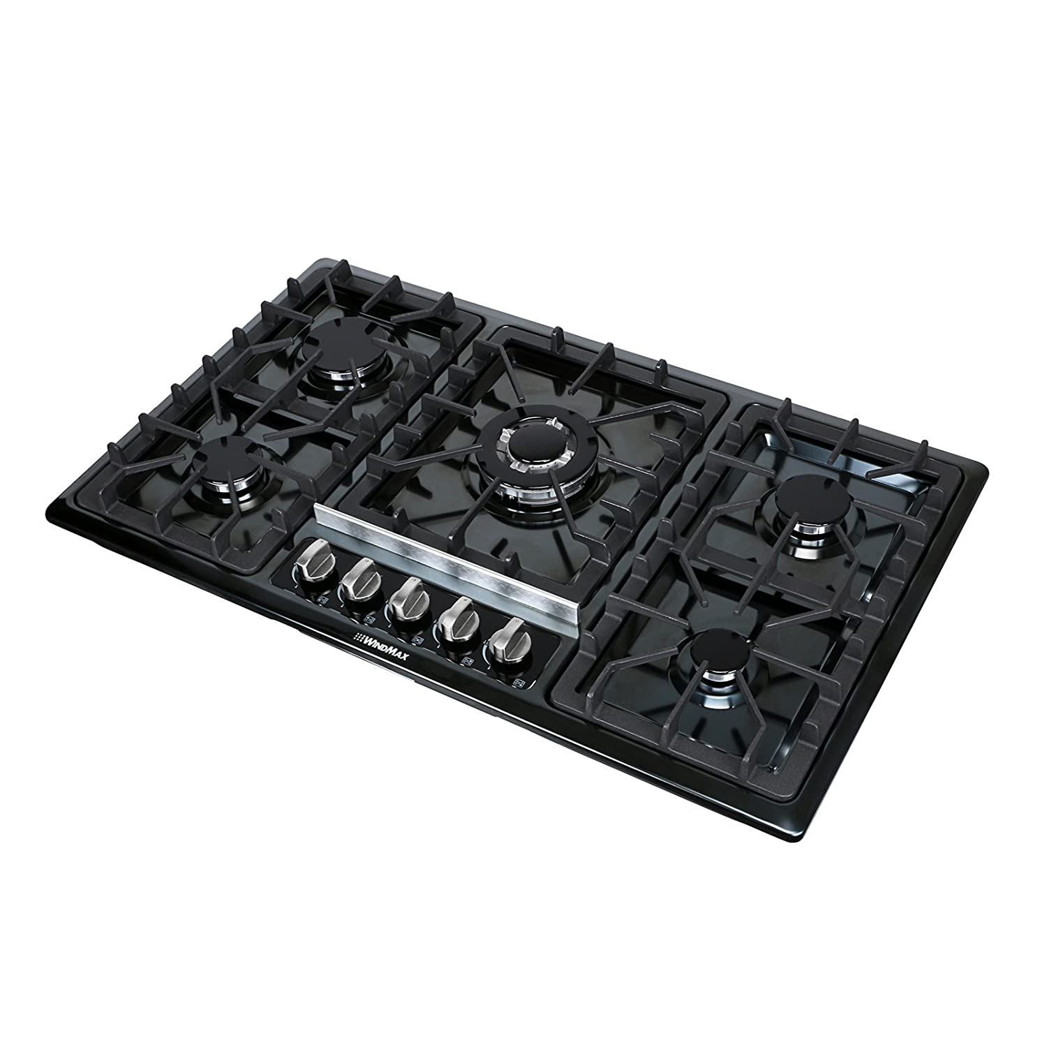 "WindMax 34"" Black Titanium Stainless Steel 5 Burners Built-In Stove Gas Cooktop"