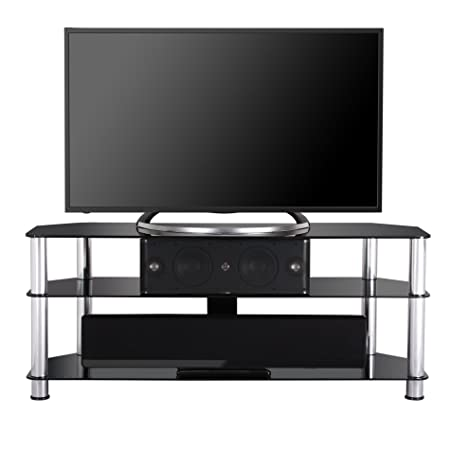Fenge Silver Tubes 47 Inch Glass Tv Stand for up to 50 Inch Flat Panel Television/xbox One/ps4 Black Glass