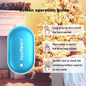 Fourheart Hand Warmers, 5200mAh Portable Double-Side Hand Warmer Rechargeable/Power Bank for iPhone,Samsung,Helps for Soothe The Pain and Uncomfortable of Arthritis Sufferers, Best Winter Gift (Color: Blue, Tamaño: Type USB)