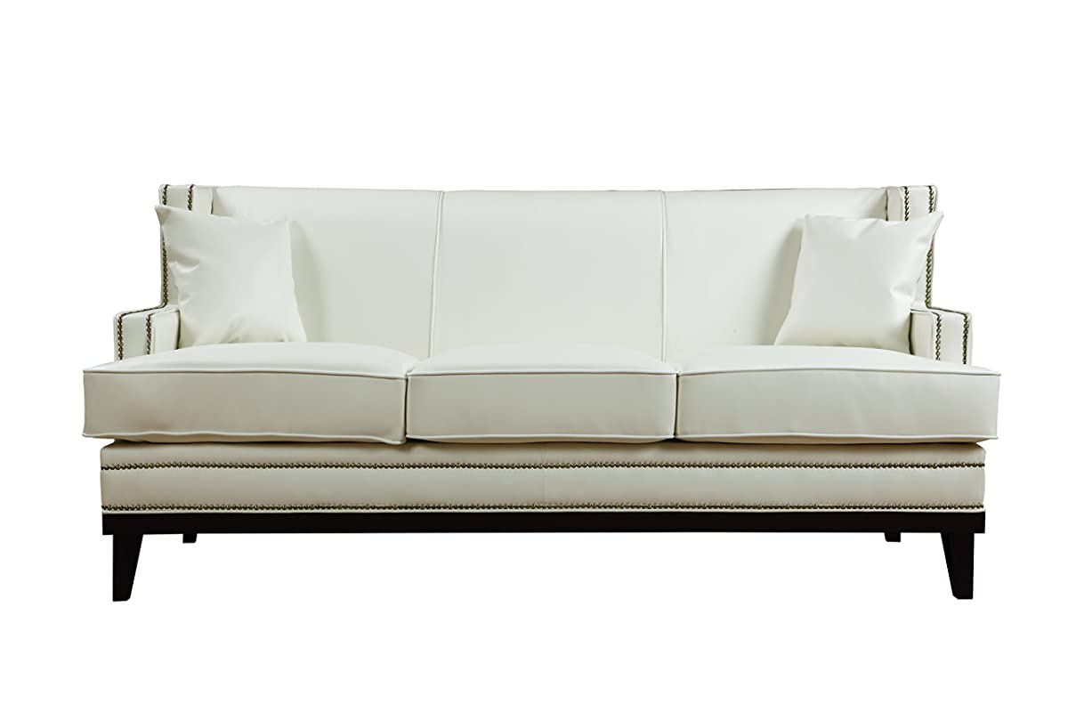 Divano Roma Furniture Modern Bonded Leather Sofa with Nailhead Trim Detail (White)