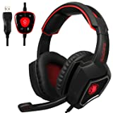 Yanni Sades SPIRITWOLF USB Version PC Computer Over Ear Stereo Gaming Headset, 7.1 Surround Sound Headphone with Mic, Noise Reduction, Volume Control, LED(Black Red)