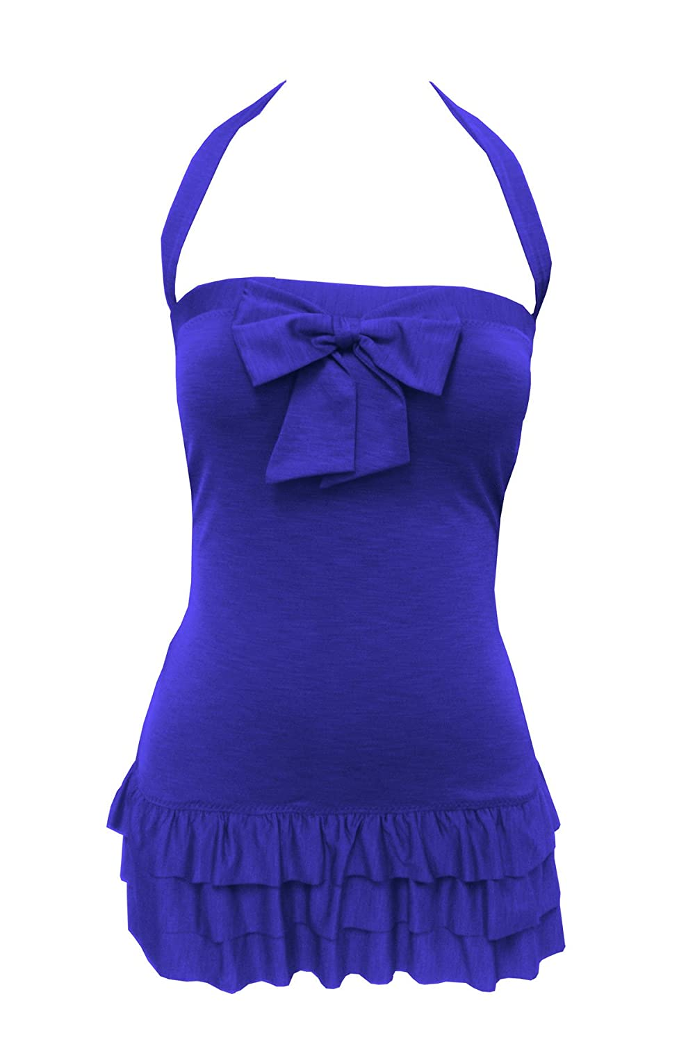 Betsey Johnson Blueberry Blue Retro Swimdress with bow and ruffles