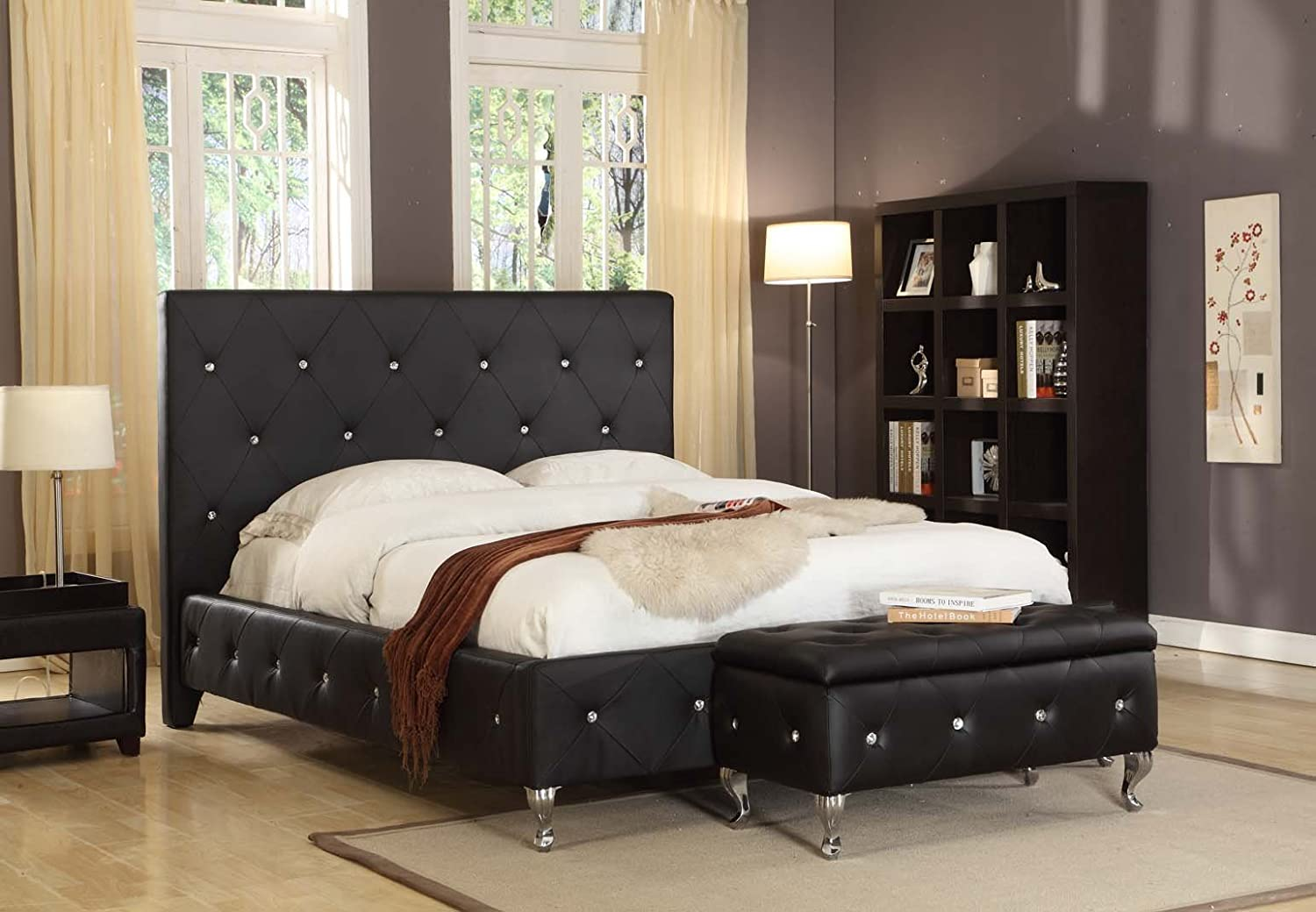 black tufted design leather look king size upholstered platform bed new. Black Bedroom Furniture Sets. Home Design Ideas