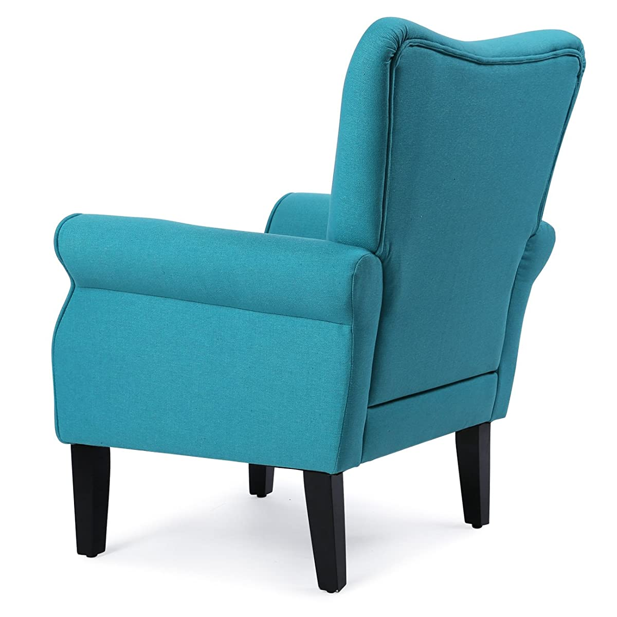 Belleze Living Room Armchair Linen Armrest Modern Accent Chair High Back Wingback, Mallard Teal