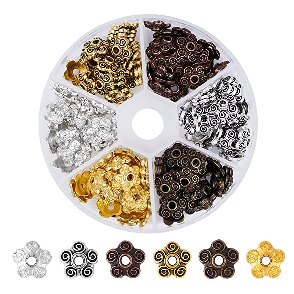 Pandahall 1Box/180pcs Tibetan Style Alloy Flower Petal Bead Caps Stamped Beads Cones Spacers 5Petals for Jewelry Makings 10mm in Diameter Mixed Color (Color: 10mm-mixed, Tamaño: one size)