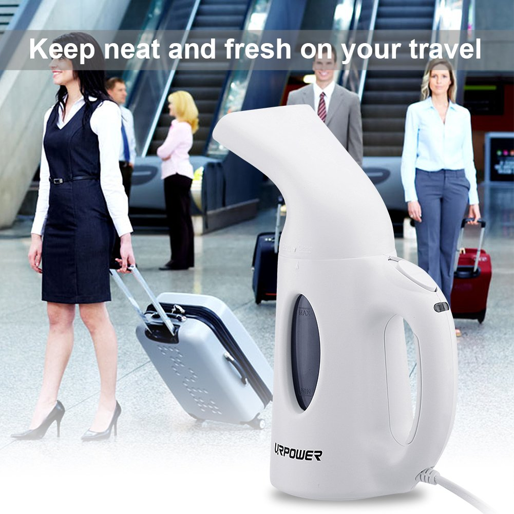 URPOWER Garment Steamer 130ml Portable Handheld Fabric Steamer Fast Heat-up Powerful Travel Garment Clothes Steamer with High Capacity for Home and Travel, Travel Pouch Included