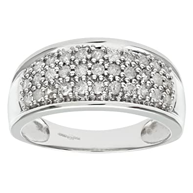Naava 9ct White Gold Half Carat Diamond Pave Set Multi Row Eternity Ring