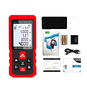 Bluetooth Laser Measure 230ft/70m, LiangFangShenQi Laser Distance Measuring Device M/In/Ft, Backlit, Electronic level, Pythagorean/Area/Volume, rechargeable, with Floor Plan APP Android & iOS (Pro) (Color: Red, Tamaño: Pocket Size)