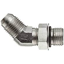 "Brennan 6802-06-06-NWO-SS, Stainless Steel, 37 Degree Flared Tube Fitting, 06MJ-06MAORB 45 Degrees Elbow , 3/8"" Tube OD"