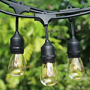 2-Pack Dimmable Outdoor String Lights for Patio, Waterproof Hanging Vintage 11W Edison Bulbs, 48Ft Commercial Lights String Perfect for Cafe Bistro Backyard Pergola, Blk(96ft) (Color: Black, Tamaño: 2-Pack)