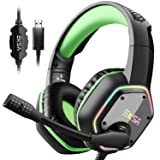 EKSA 7.1 Gaming Headset - Surround Stereo Sound - PS4 USB Headphones with Noise Canceling Mic & RGB Light Over Ear Headphones, Compatible with PC, PS4 Console, Laptop (Green) (Color: Green)