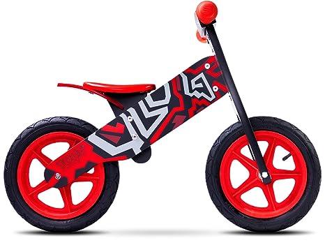Caretero Toyz Zap vélo de marche sans pedales, bicycle de balance, en bois, Farbe:Black/Red