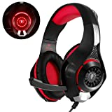 Beexcellent Gaming Headset for PS4 Xbox One Nintendo Switch (Audio) PC Gaming Headphone with Crystal Stereo Bass Surround Sound, LED Lights & Noise-Isolation Microphone … (Red)