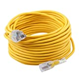 Epicord 12/3 Extension Cord Outdoor Extension Cord (100 ft) Yellow heavy duty extension cord (Color: Yellow, Tamaño: 12/3 100ft/)