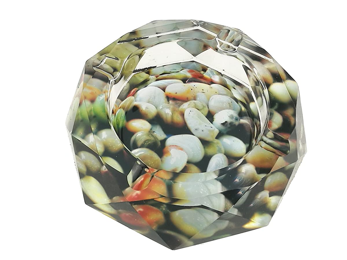 "Beautiful Colorful Pattern Transparent Octangle Shape Diameter 3.9"" Cigar Cigarette Crystal Glass Ashtrays With 4 grooves Home Office Tabletop Desk Decoration Fathers Day Gift (Small Stone)"