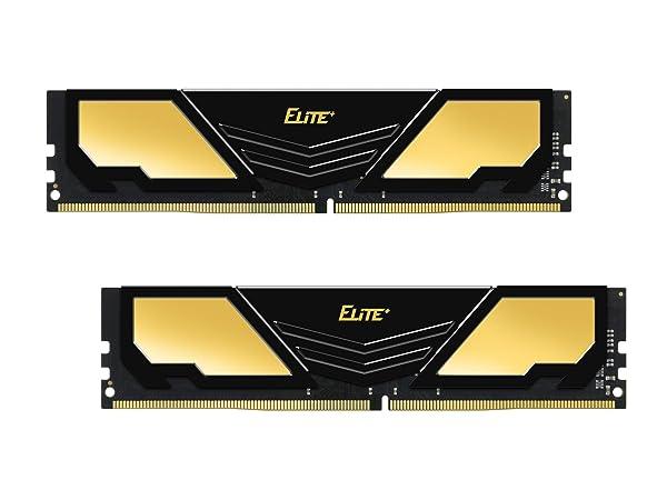 TEAMGROUP Elite Plus DDR4 16GB Kit (2x8GB) 2400MHz PC4-19200 CL16 Unbuffered Non-ECC 1.2V U-DIMM 288 Pin PC Computer Desktop Memory Module Ram Upgrade - Gold & Black - TPD416G2400HC16DC01 (Color: Gold & Black, Tamaño: 16GB Kit (2x8GB))