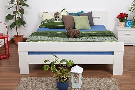 "Doppelbett ""Easy Sleep"" K6, 160 x 200 cm Buche Vollholz massiv weiß lackiert"