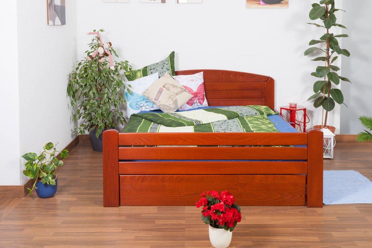 "Jugendbett ""Easy Sleep"" K7 inkl.1 Abdeckblende, 160 x 200 cm Buche Vollholz massiv kirschrot lackiert online bestellen"