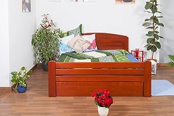 "Bett ""Easy Sleep"" K7 inkl.1 Abdeckblende, 160 x 200 cm Buche Vollholz massiv kirschrot lackiert"