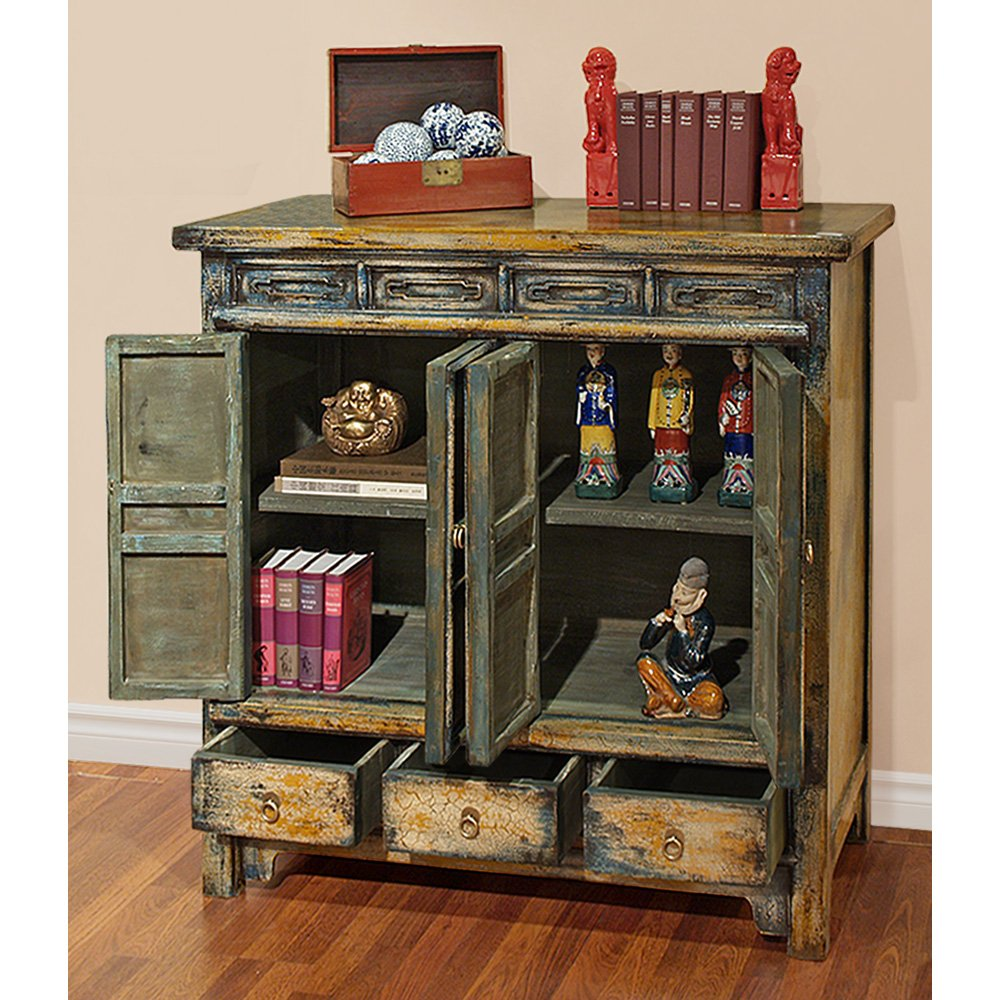 China Furniture Online Elmwood Cabinet, Vintage Hand Crafted Qing Style Distressed Blue and Yellow 1