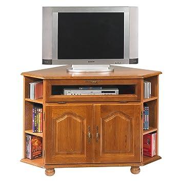 Meuble tv d 39 angle d 39 angle ch ne pieds boule cuisine - Meuble tv amplifie but ...