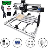 Mophorn CNC Router Kit 3 Axis PCB Milling Machine CNC 3018 Pro GRBL Control Mini CNC Machine Working Area 300x180mm Wood Router Engraver With 2500mW Blue Light Laser Head (Tamaño: 300x180mm)