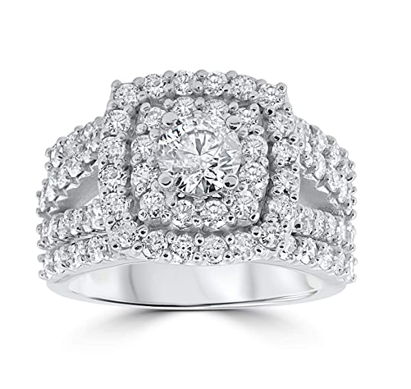 Three Pcs 10k White Gold 3 ct TDW Cushion Halo Round Diamond Engagement Trio Wedding Ring Band Set,All US Size 4 to 12 Available,Message Your Ring Size (Color: White Gold, Tamaño: All US Size 4 to 12 available)