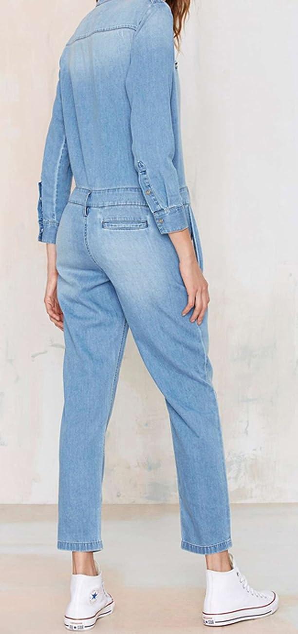 Darceil Women's Vintage Blue Long Sleeve Long Pants Denim Jumpsuit Overalls 1