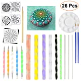 JOFAMY Mandala Dotting Tools for Rock Painting Canvas Painting & Dot Art Painting with Acrylic Rods, Dotting Painting Tool, Painting Stencil Template, Paint Tray, Liner Brush, Pencil & Cardstock(Total (Color: Green, Blue, Clear, Yellow, Pink,Dark Blue,)
