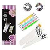 WOVTE Nail Art and Gel Acrylic Drawing Makeup Brush Set with Dotting Tools, Pack of 20 (Color: White, Tamaño: Nail art Brushes)