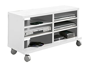 OVERHOME365 4550 B - Mesa TV, madera, color blanco, 100x40x45.5 cm
