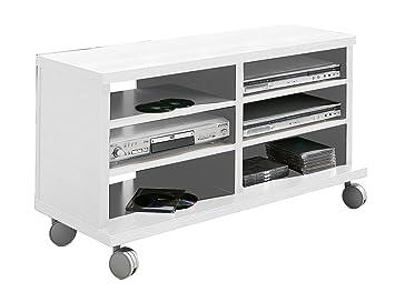 OVERHOME365 4550 B - Mesa TV, madera, color blanco, 100x40x45.5 cm