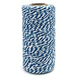 100 M/328 Feet Durable Cotton Bakers Twine String,Heavy Duty Packing Bakers Twine for Gardening Applications (Dark Blue and White) (Color: Dark Blue White)