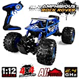 Distianert 1/12 Scale RC Truck 4WD Electric Amphibious RC Car, 2.4GHz 18km/h High Speed Monster Truck, Off-/On- Road Buggy for All Terrain (Color: Blue, Tamaño: Blue)