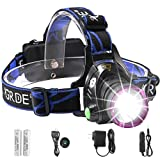 Headlamp,GRDE Rechargeable Led Headlamp Headlight Flashlight 3 Modes with Adjustable Thick Head Strap for Camping Hiking Fishing BBQ Repairing Night Walking Morning Running(Purple) (Color: Purple)
