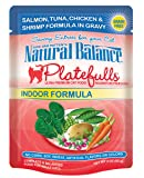Natural Balance 3-Ounce Platefulls Indoor Salmon, Tuna, Chicken and Shrimp Formula in Gravy Entree for Cats, Pack of 24