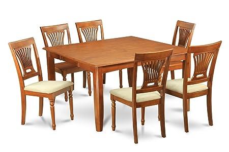 East West Furniture PFPL9-SBR-C 9-Piece Dining Table Set