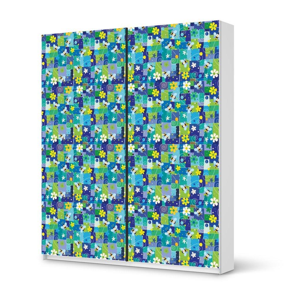 Folie IKEA Pax Schrank 236 cm Höhe – Schiebetür / Design Aufkleber Flowers and Bees 2 / Dekorationselement günstig kaufen